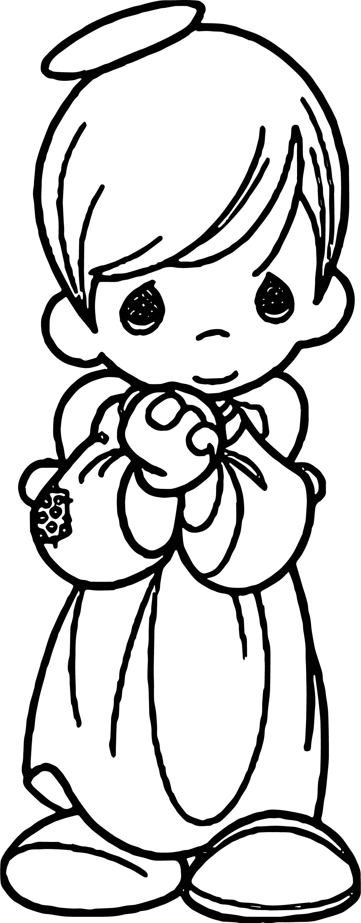 precious moments boy angel coloring page wecoloringpage
