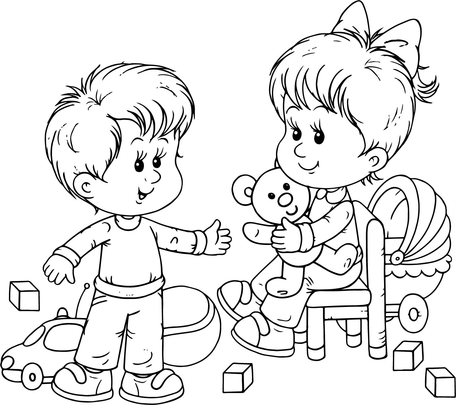 Toys For Boys To Color : Preschool boy and girl playing toys coloring page