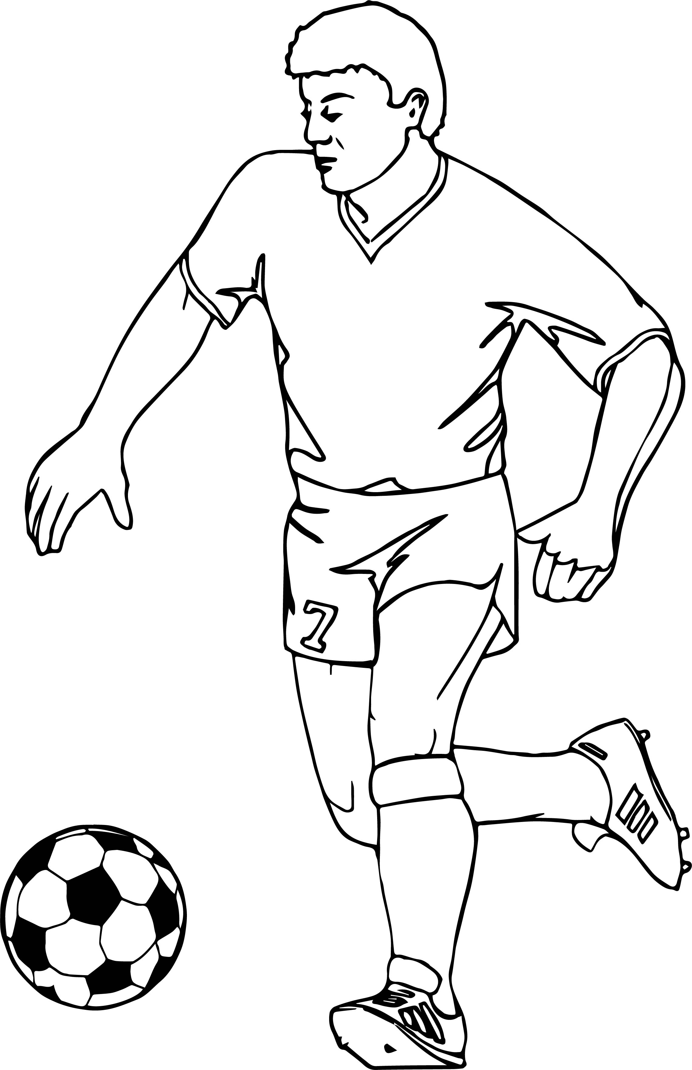 Running Football Player Playing Soccer Coloring Page | Wecoloringpage