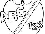 School Back To School Abc Apple And Pencil Abc Teach Coloring Page