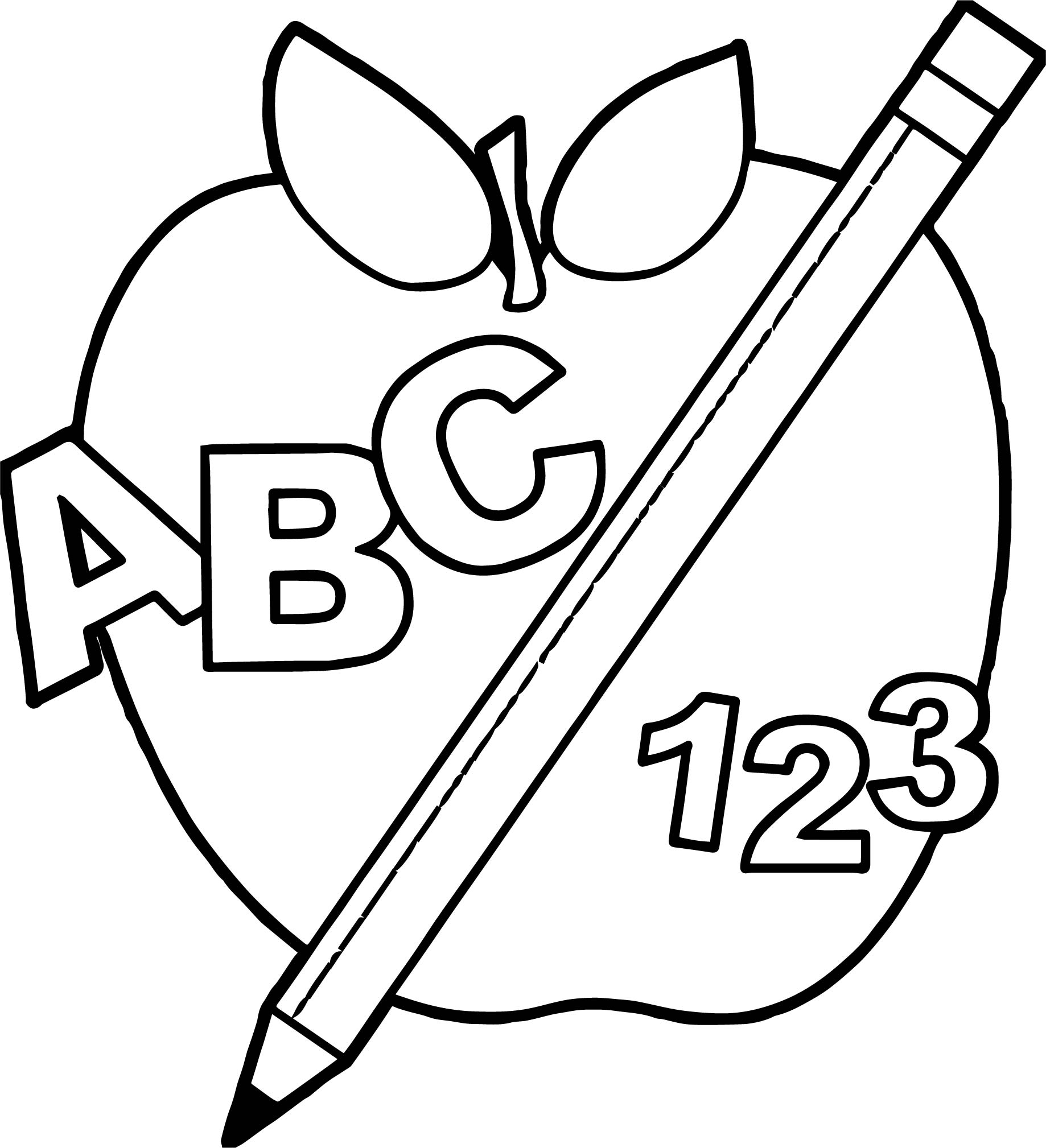 back to abc apple and pencil abc teach coloring page