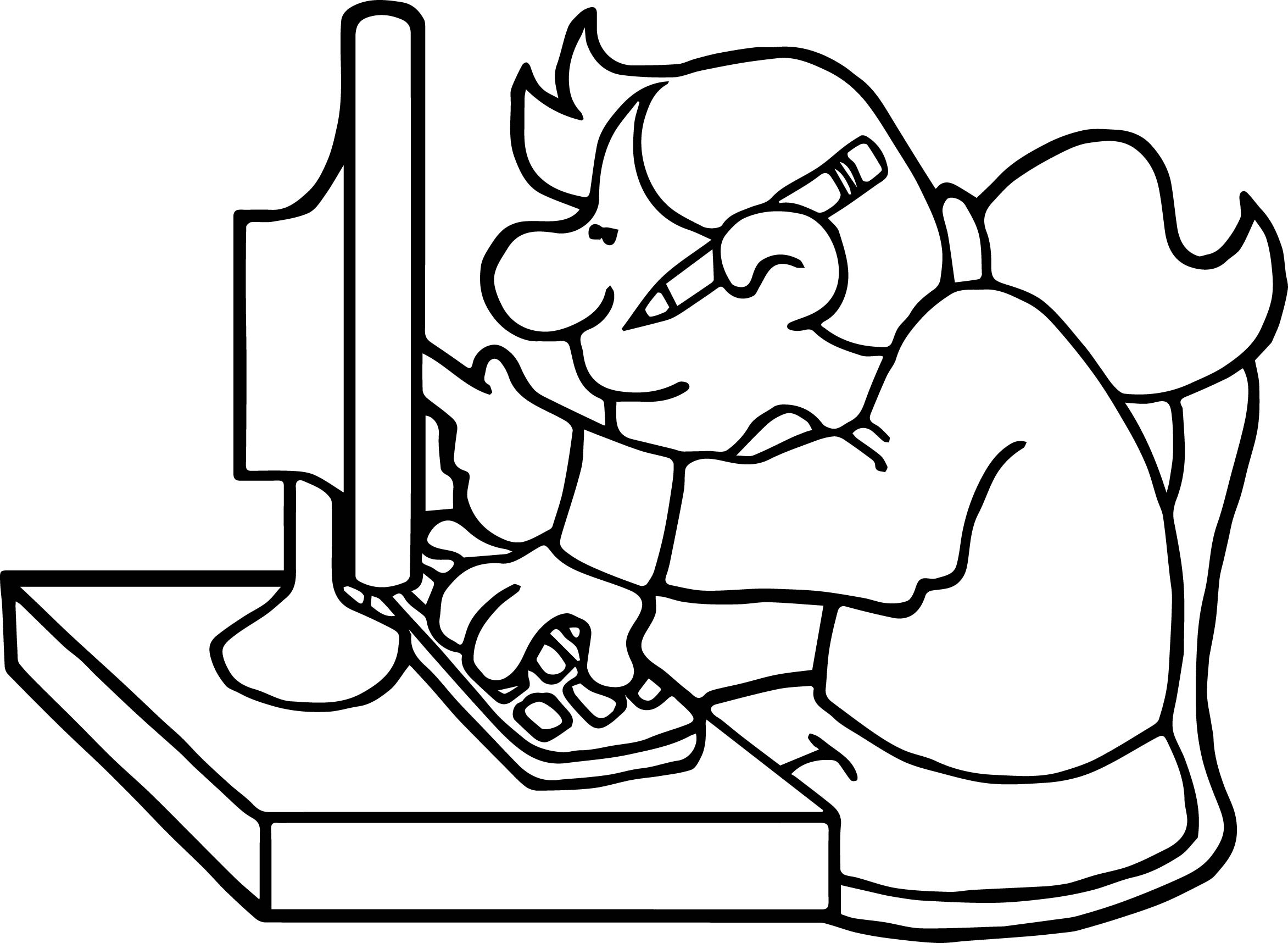 School Research Playing Computer Games Coloring Page