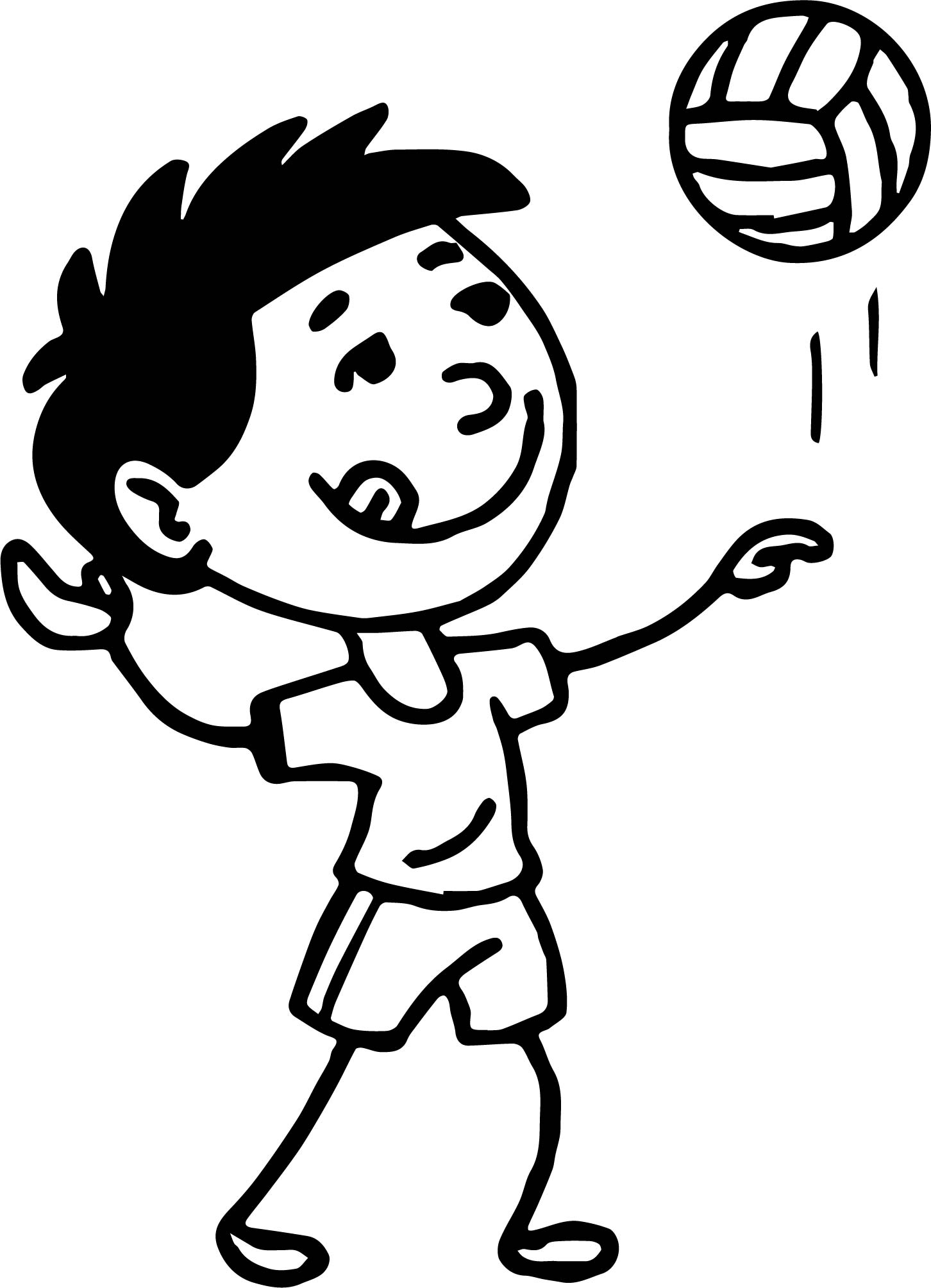 Coloring pages volleyball - Serving Volleyball On The Beach Coloring Page