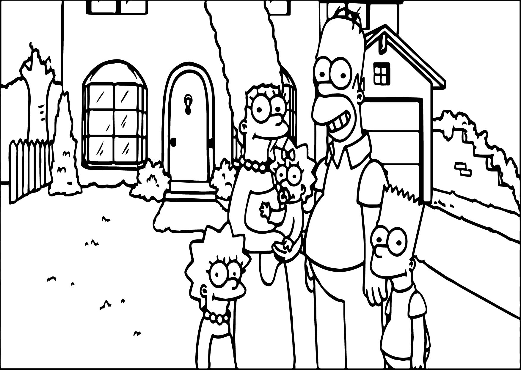 Simpsons Jef Family Photo Coloring Page