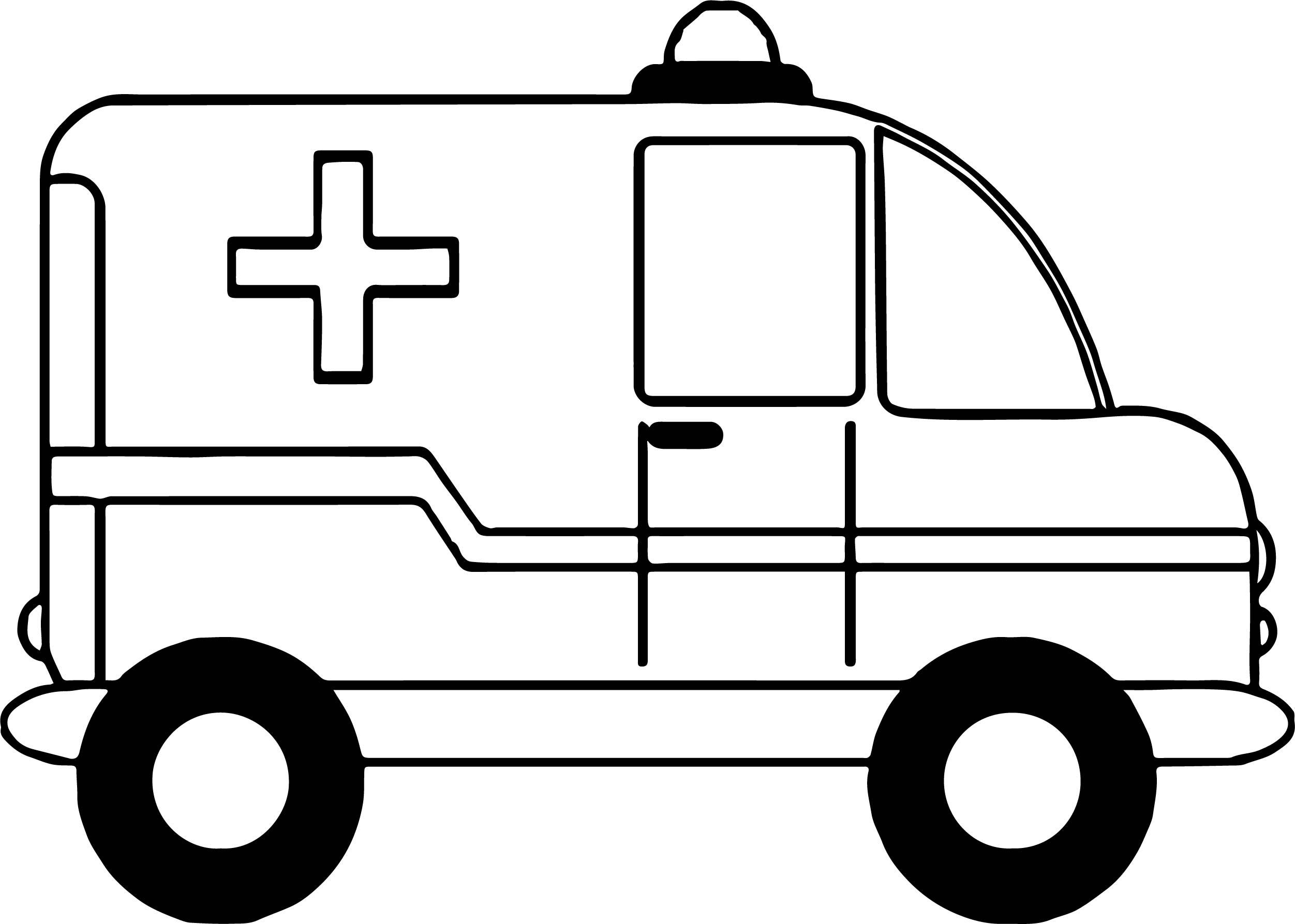 Small Ambulance Car Coloring Page