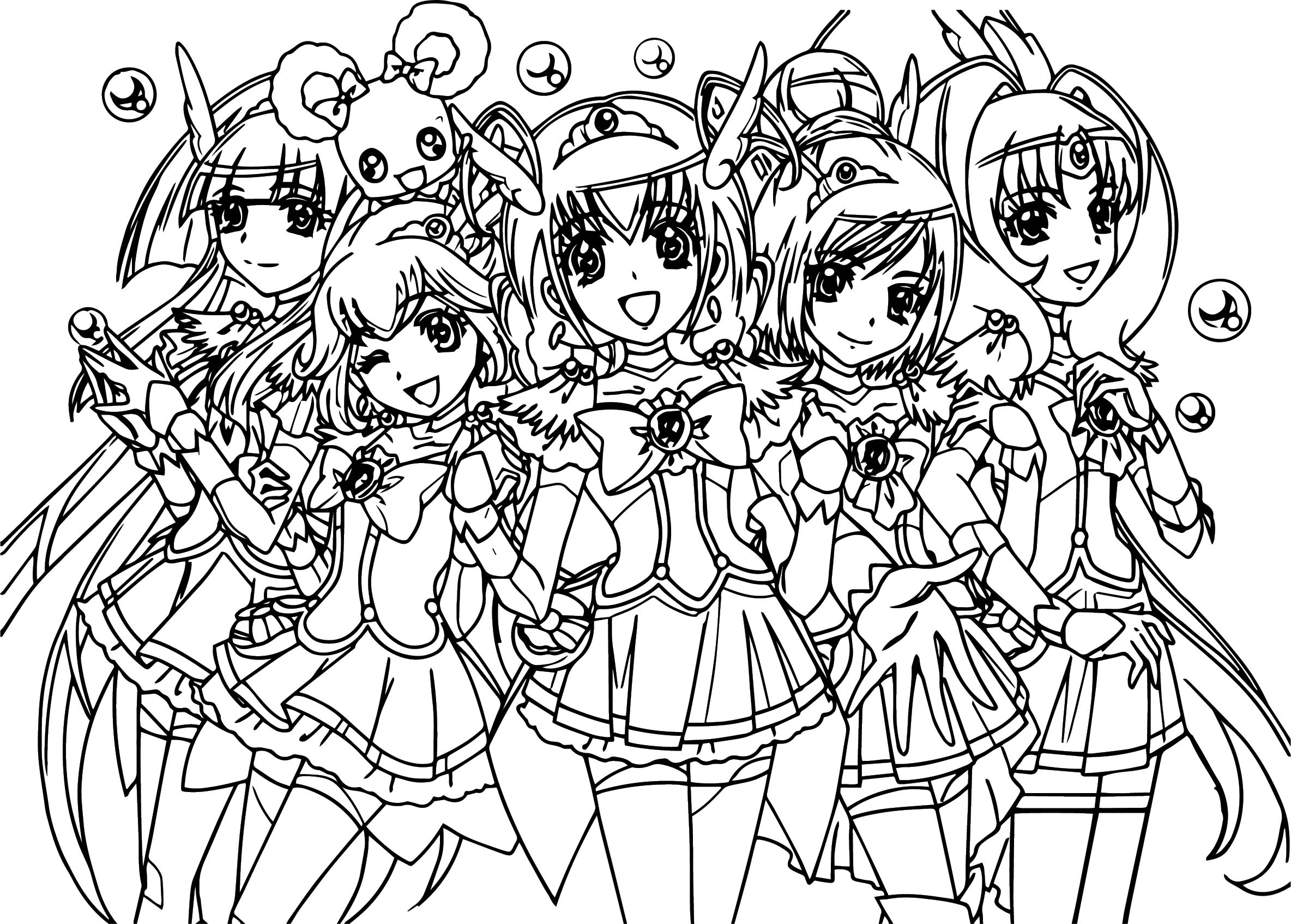 smile precure glitter force team coloring page wecoloringpage