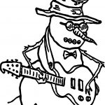 Snowman Guitar Playing The Guitar Coloring Page