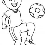 Soccer Boy Bouncing Soccer Ball On His Knee Playing Football Coloring Page
