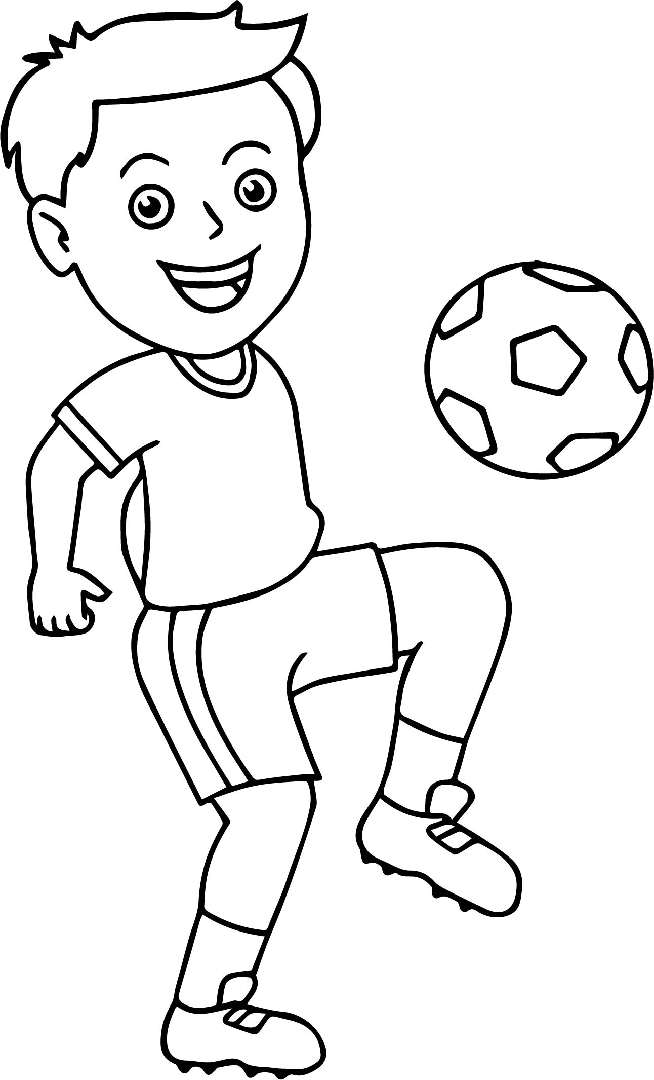 Soccer boy bouncing soccer ball on his knee playing for Soccer coloring pages for kids