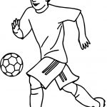Soccer Sports Playing Football Coloring Page