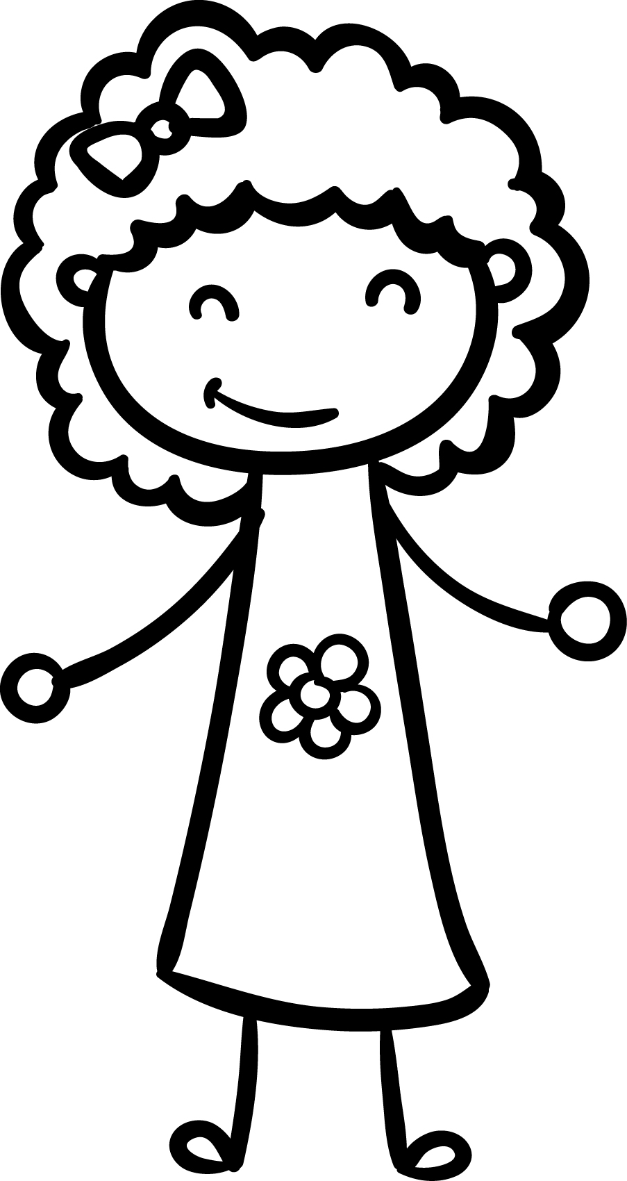 Sweet Smile Girl Children Coloring Page