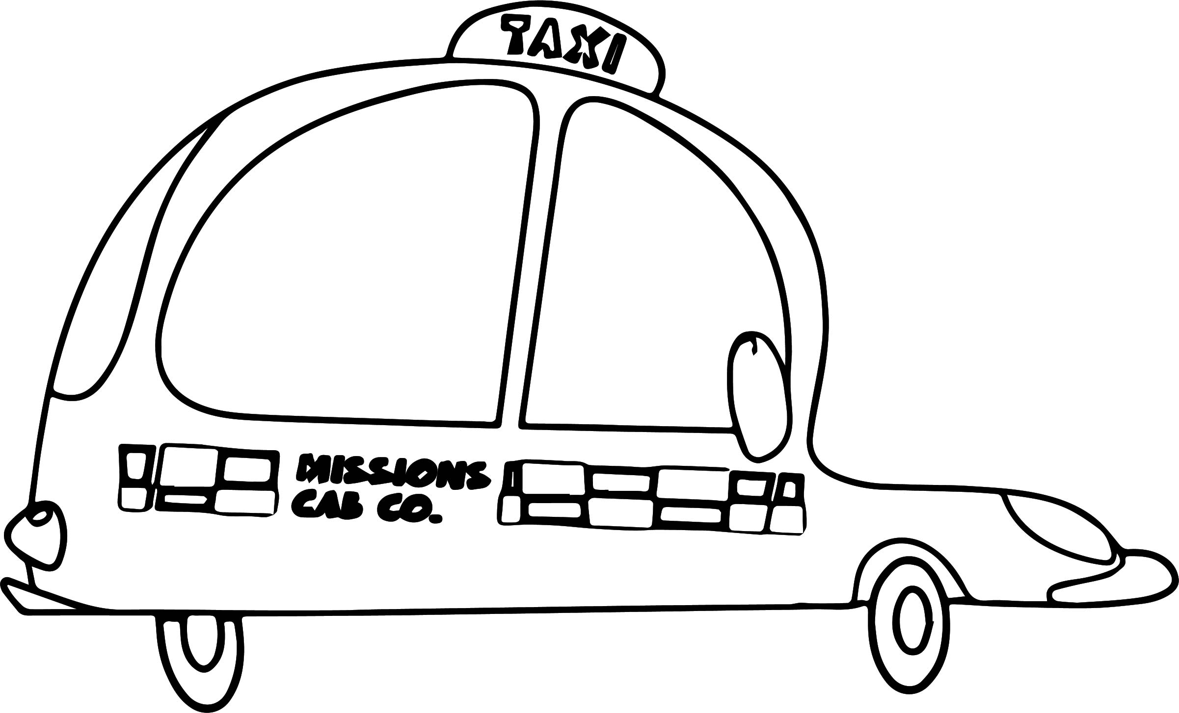 Taxi mission driver car coloring page for Taxi coloring page