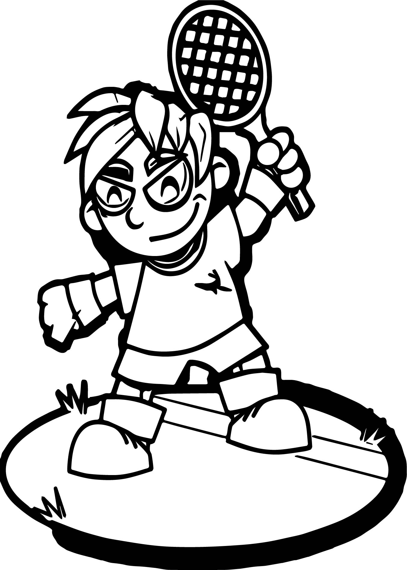 Tennis Free To Use Coloring Page