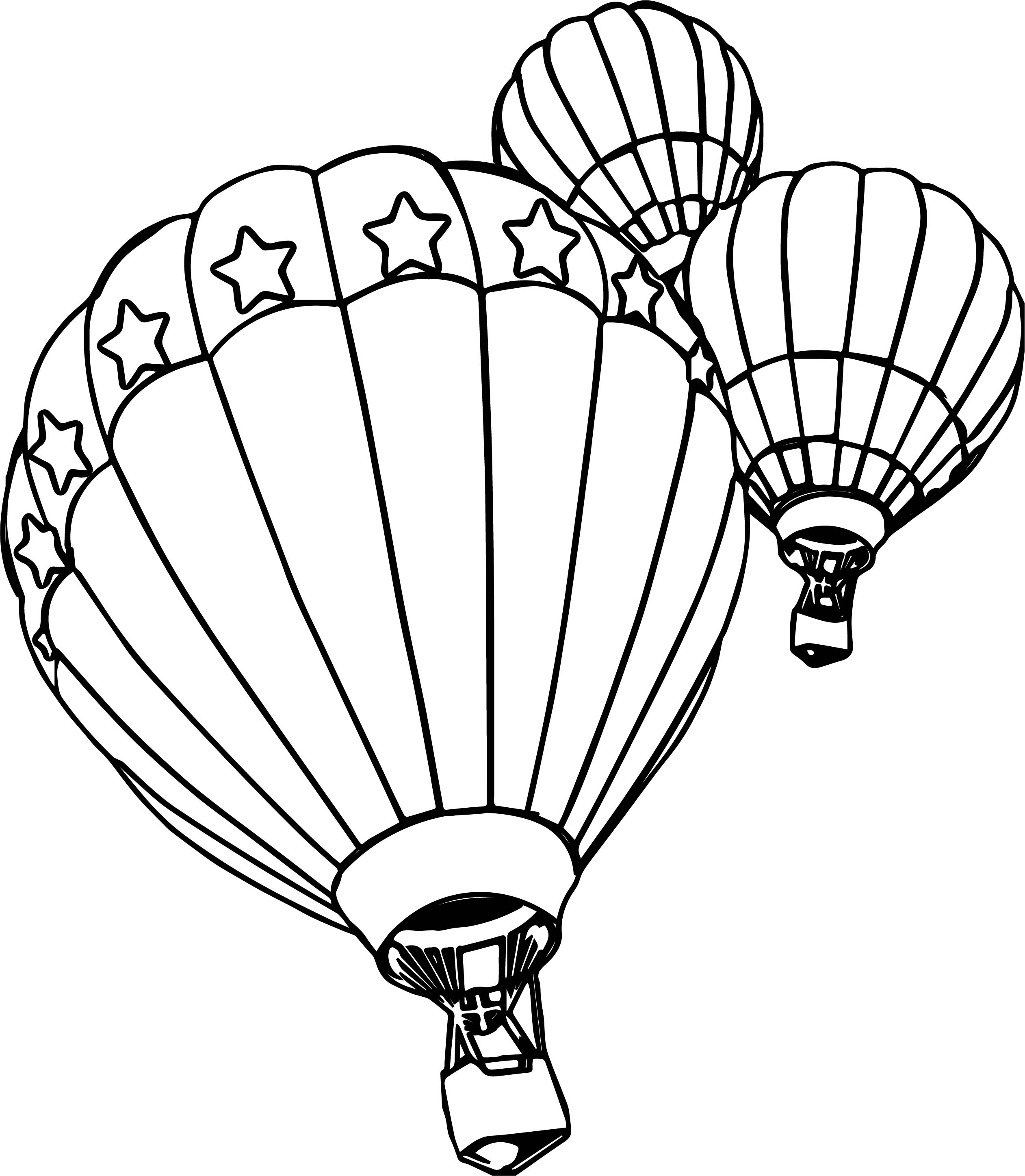 Three Air Balloon Coloring Page