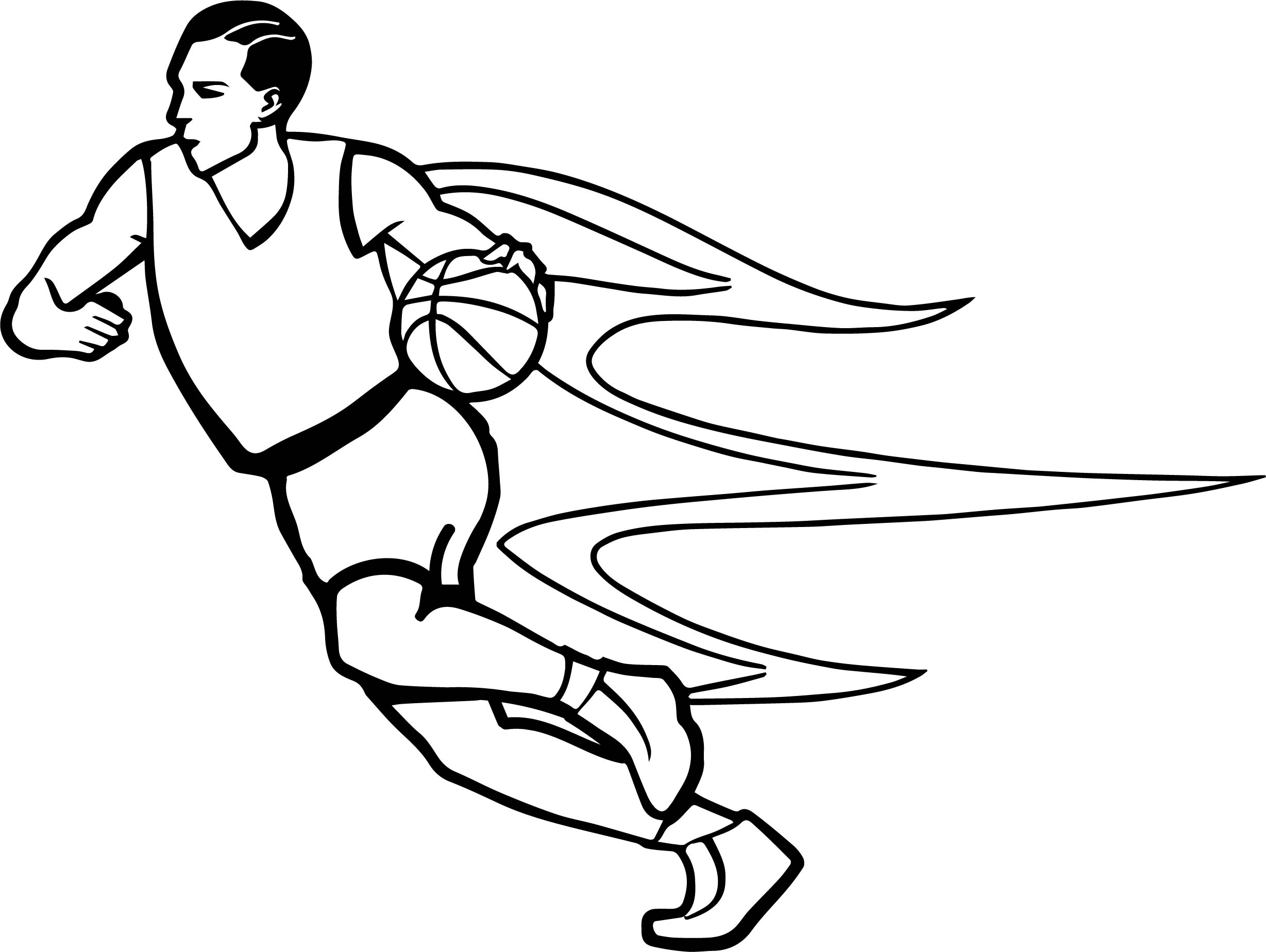 Too Fast Player Playing Basketball Coloring Page