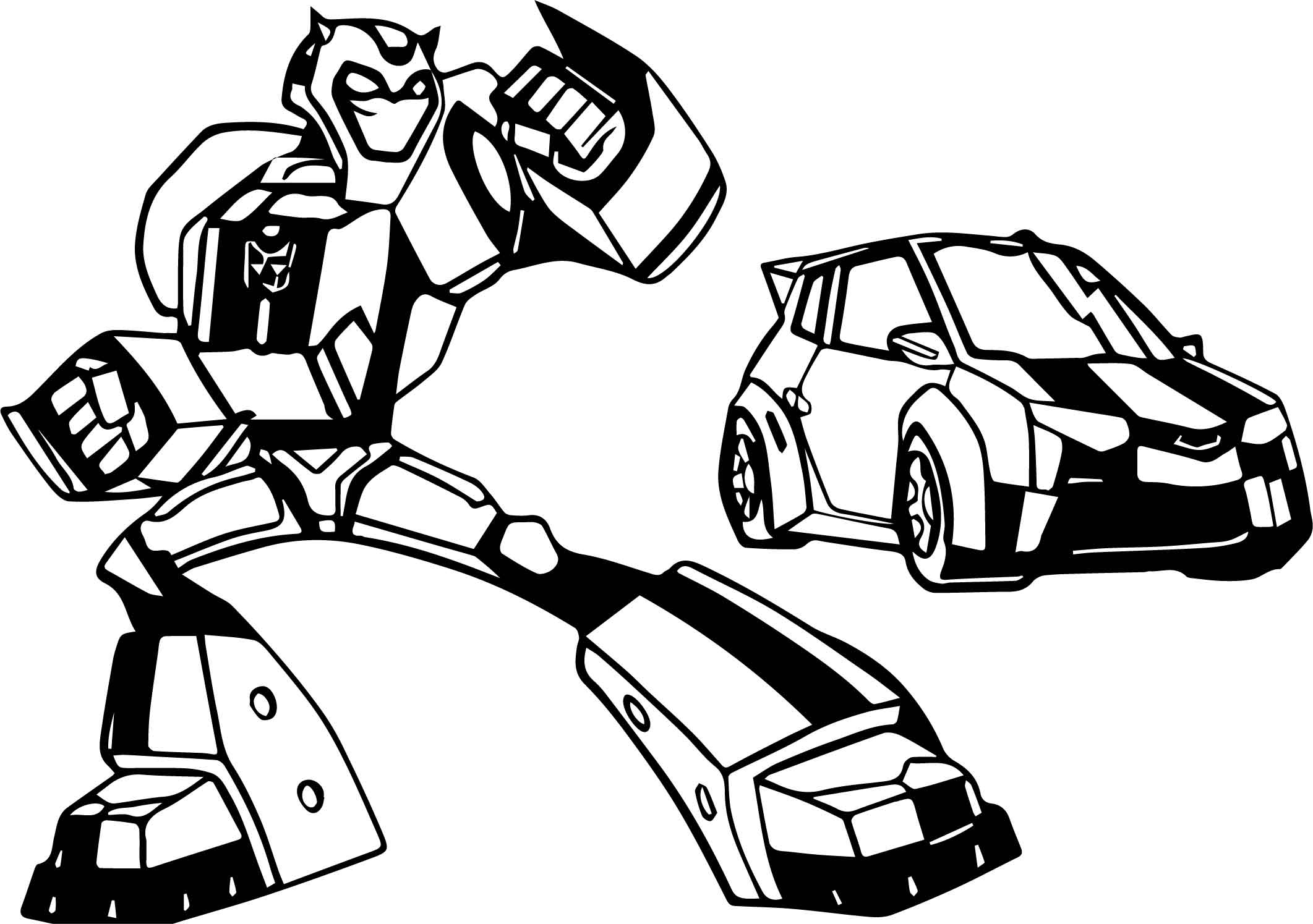Transformers and cars coloring page for Transformers animated coloring pages