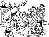 Turma Da Monica Child Park Playing Coloring Page
