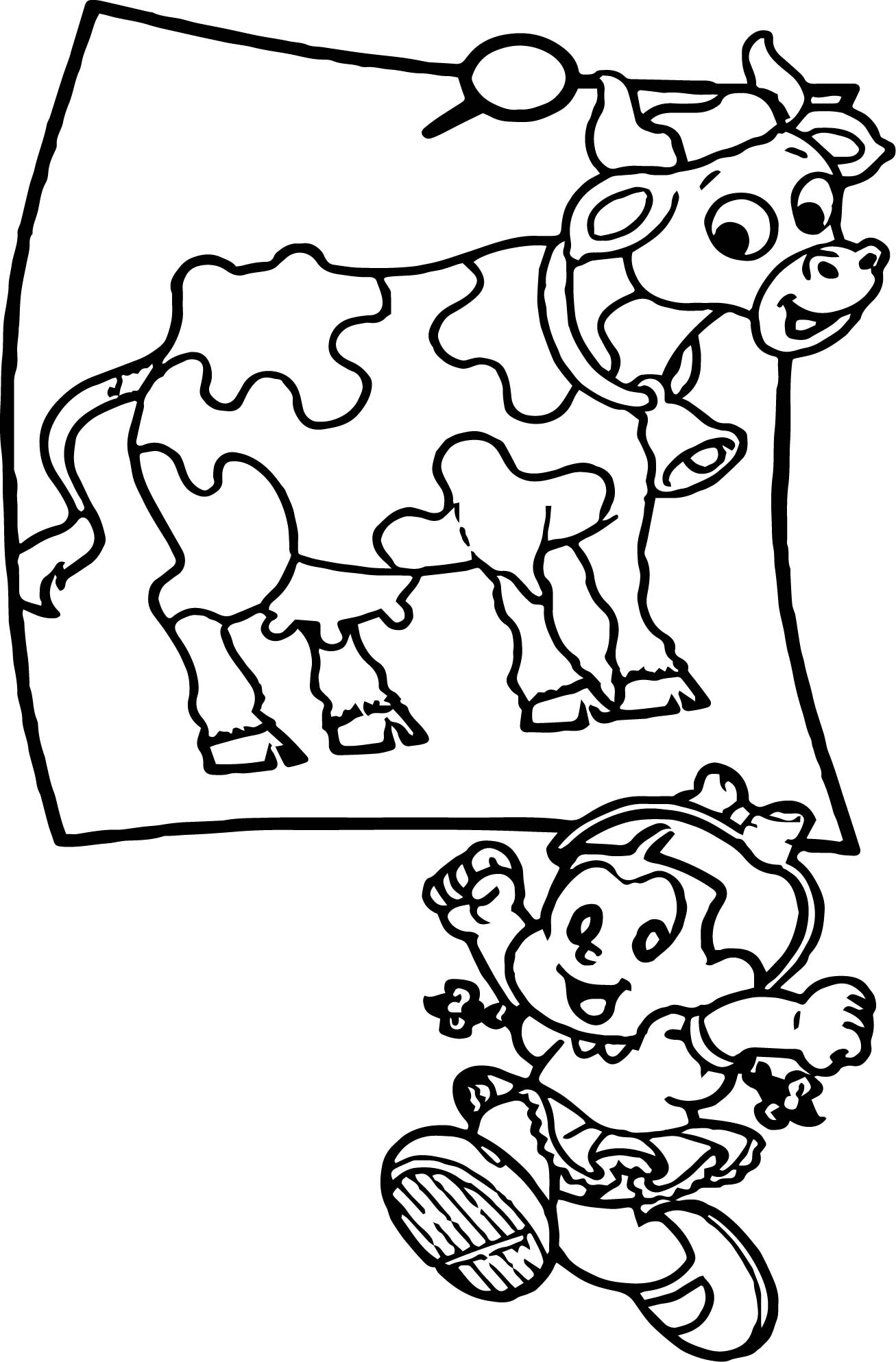 Turma Da Monica Girl And Cow Coloring Page