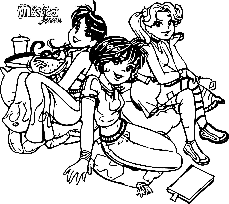 Turma Da Monica Girls Coloring Page