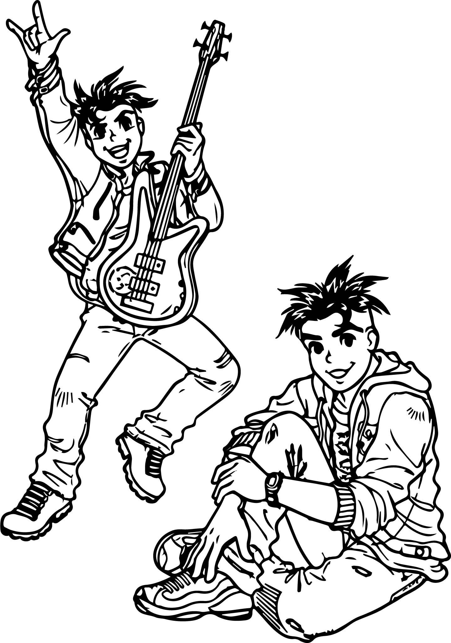 Turma Da Monica Guitar Boy Coloring Page