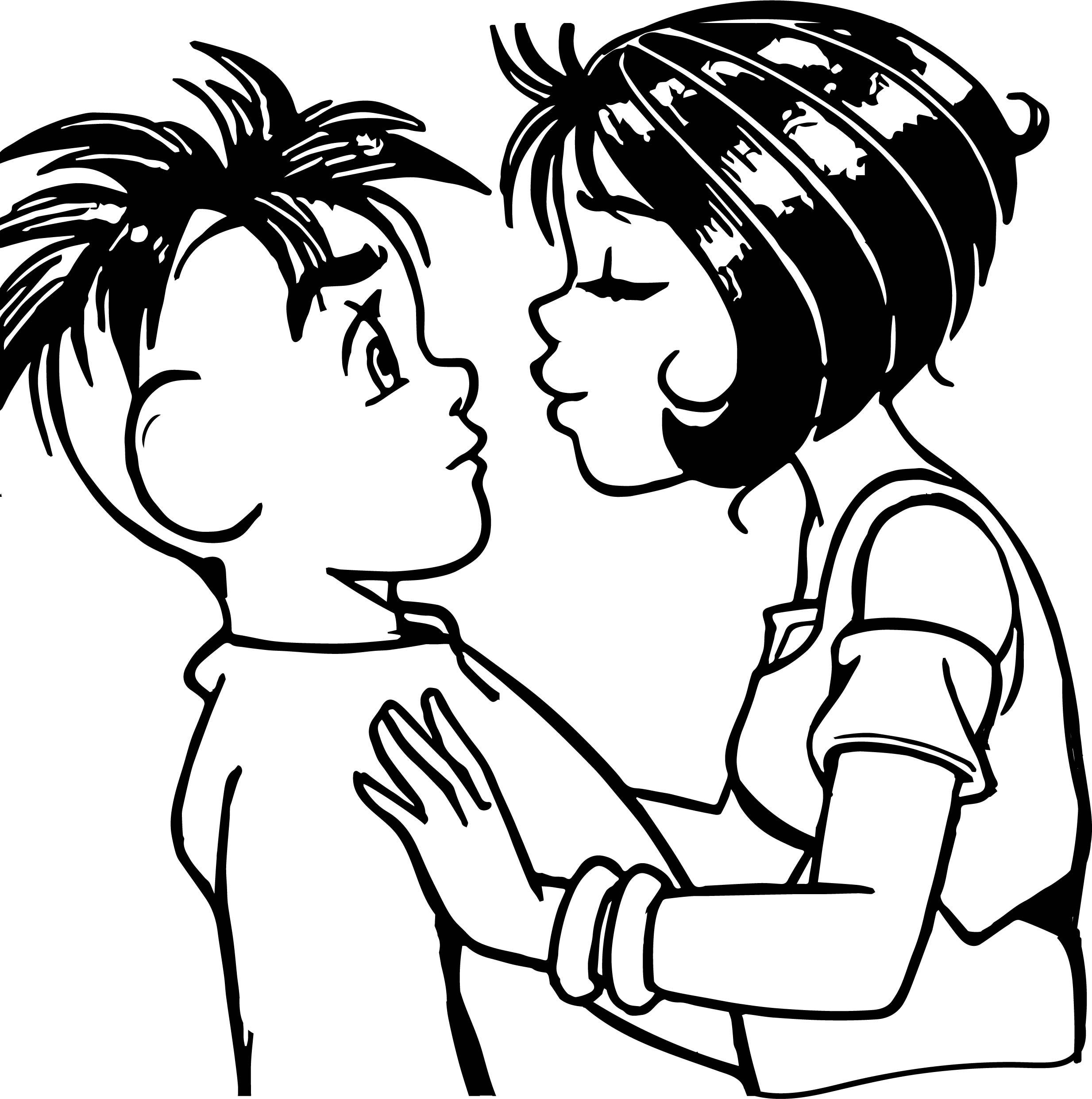 Turma Da Monica Jovem Sucesso Girl Boy Kiss Coloring Page