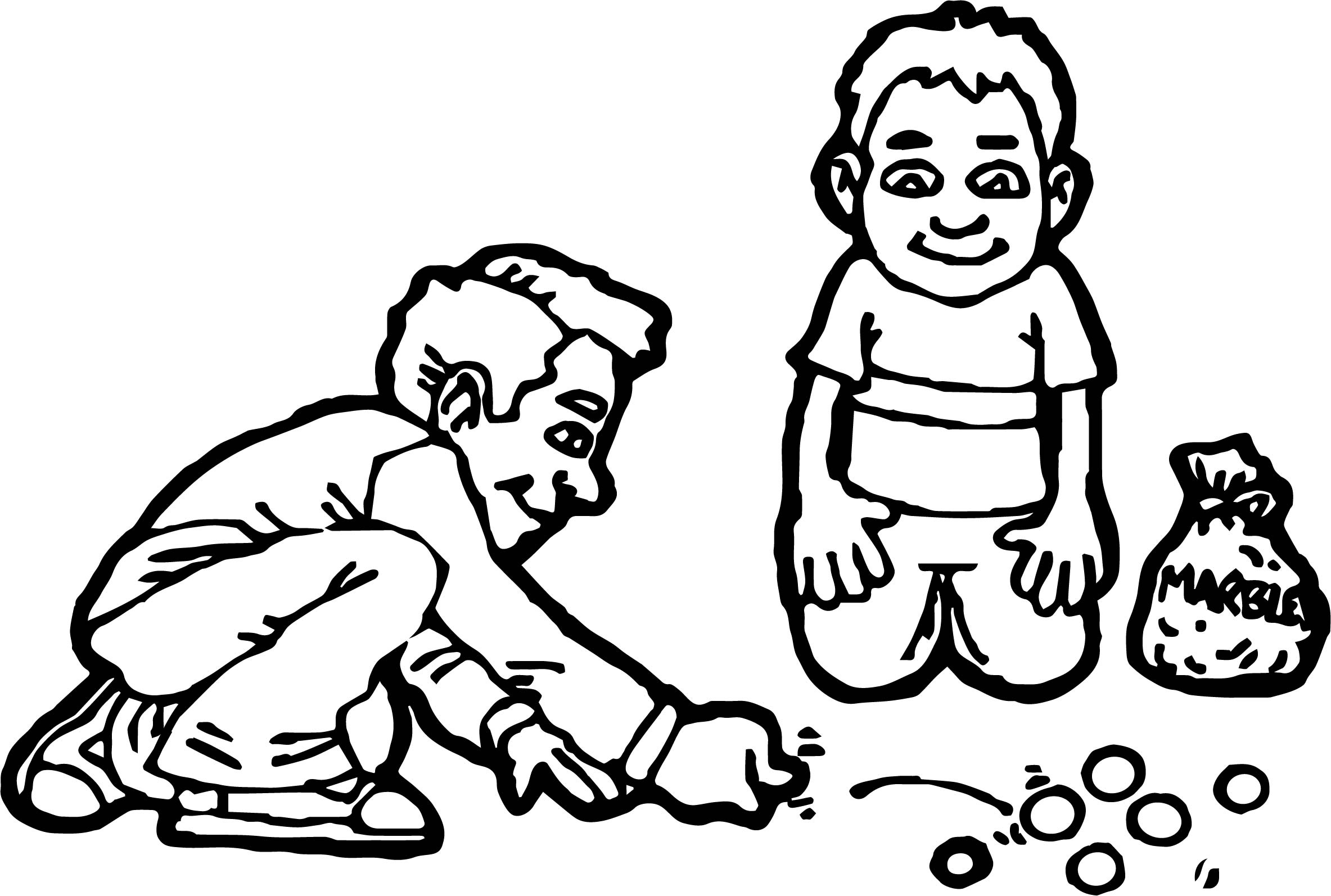 Two Kids Playing Marbles Coloring Page Wecoloringpage Marble Coloring Page