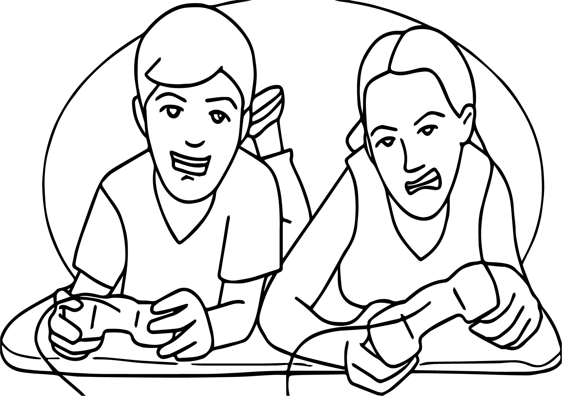two kids playing video game playing computer games coloring page