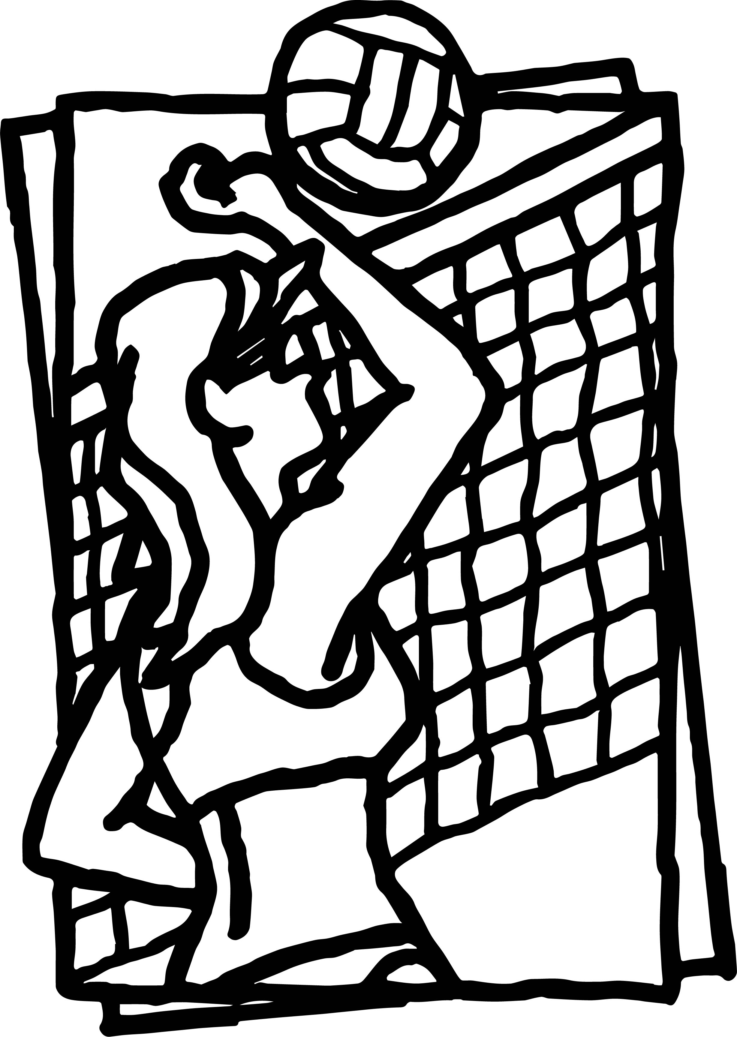 Volleyball Game Beach Coloring Page