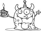 Weaver Party Animal Monster At A Birthday Party With A Piece Of Cake Coloring Page