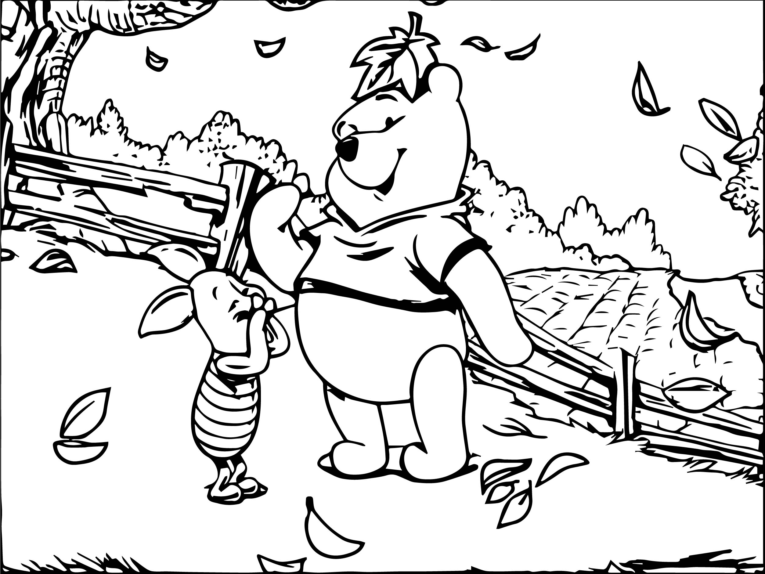 winnie the pooh and piglet autumn coloring page wecoloringpage