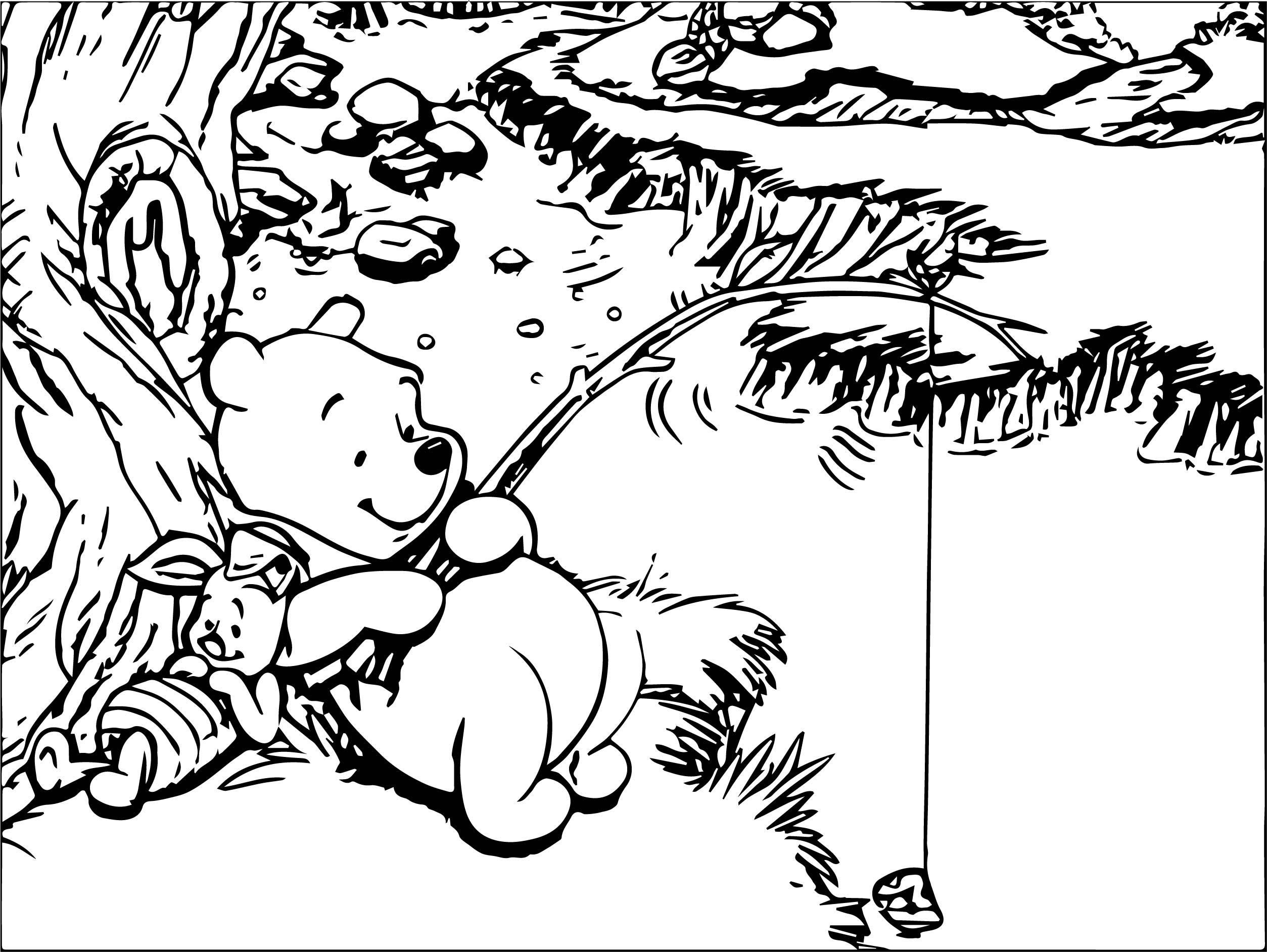 Winnie The Pooh And Piglet Rest And Fishing Coloring Page