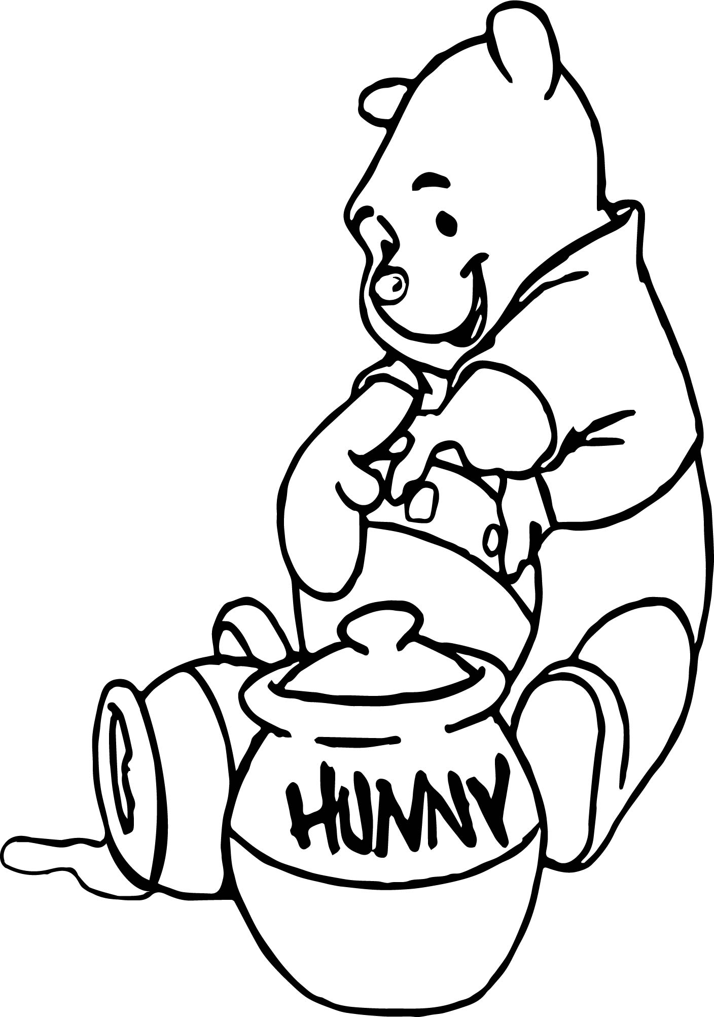Winnie The Pooh Eating Hunny Coloring Page