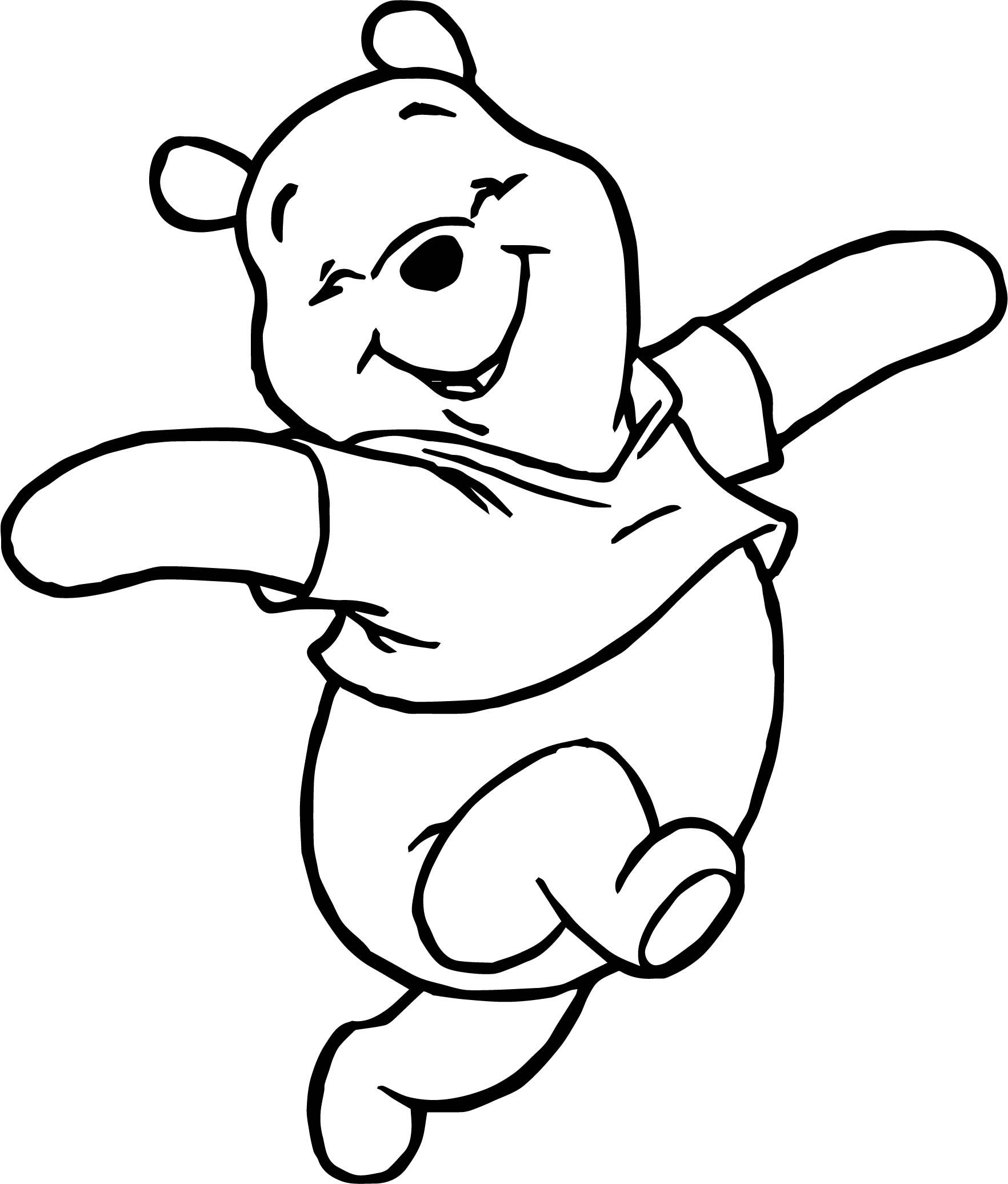 Winnie the pooh happy walking coloring page for Pooh coloring page