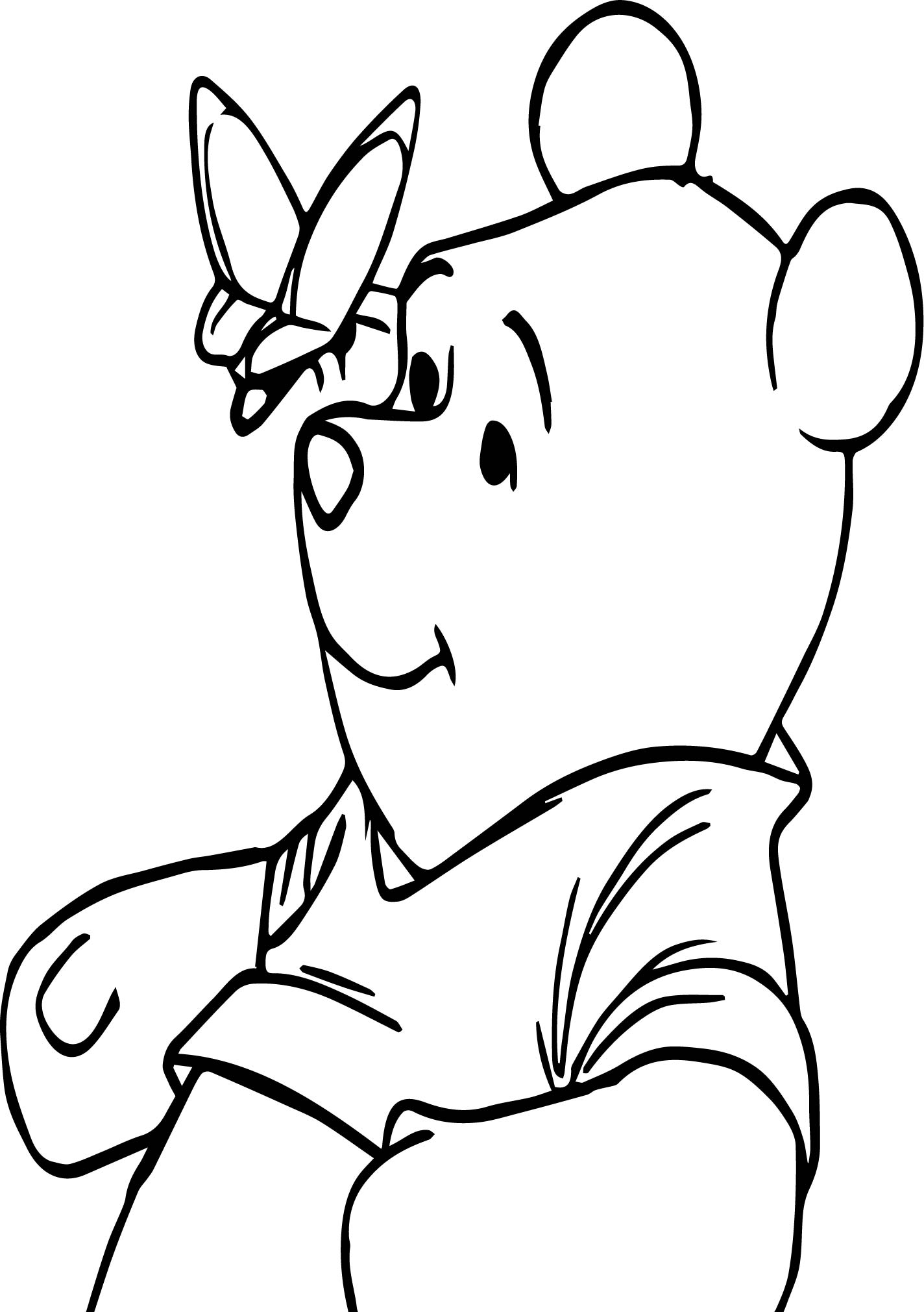 Winnie The Pooh Happy With Butterfly Coloring Page
