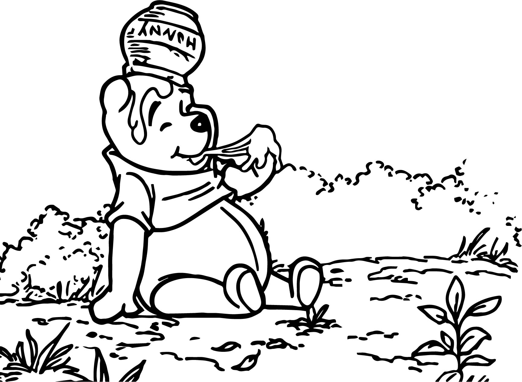 winnie the pooh hmm hunny coloring page wecoloringpage