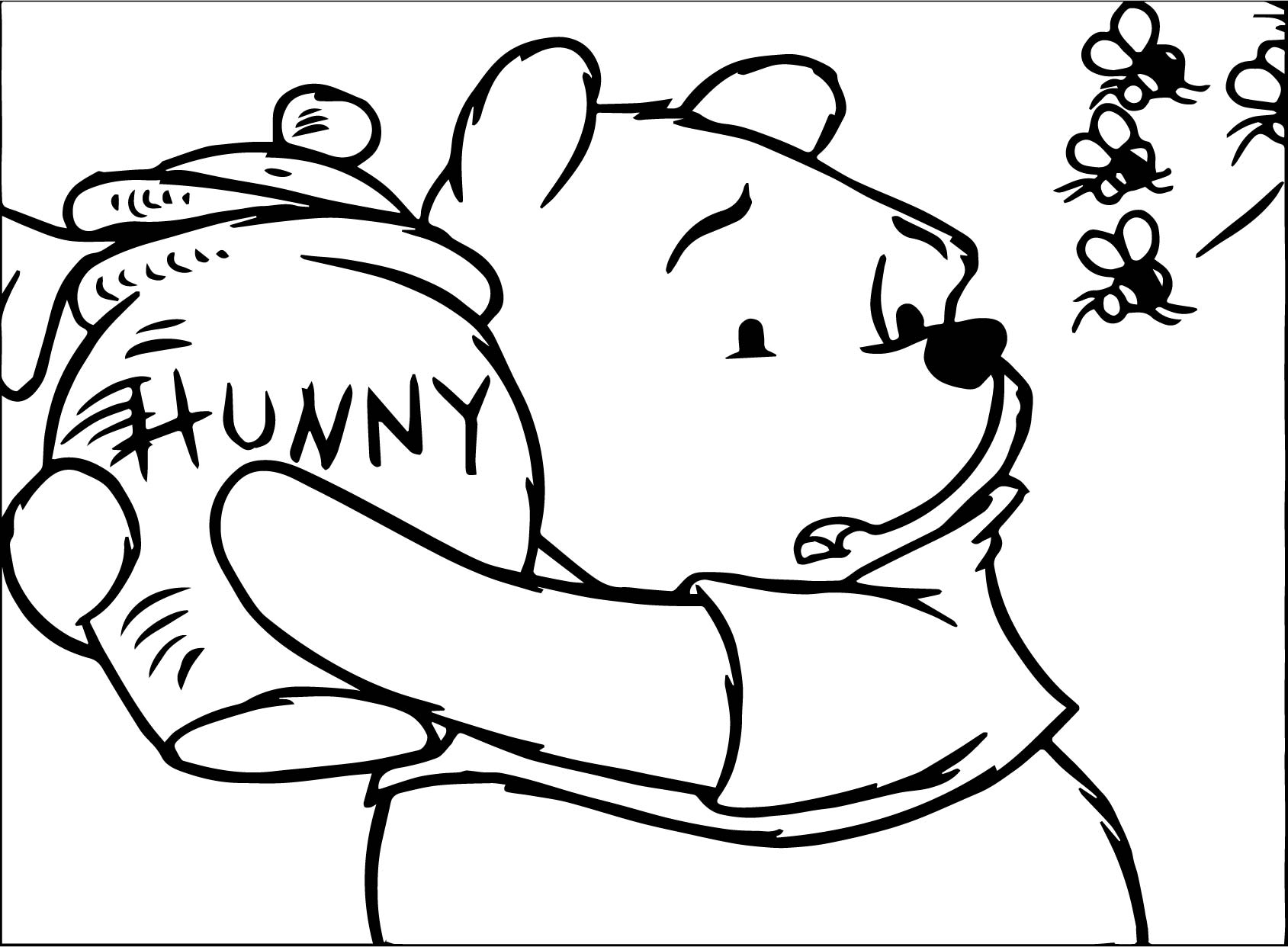 Winnie The Pooh It Mine Hunny And Bee Coloring Page