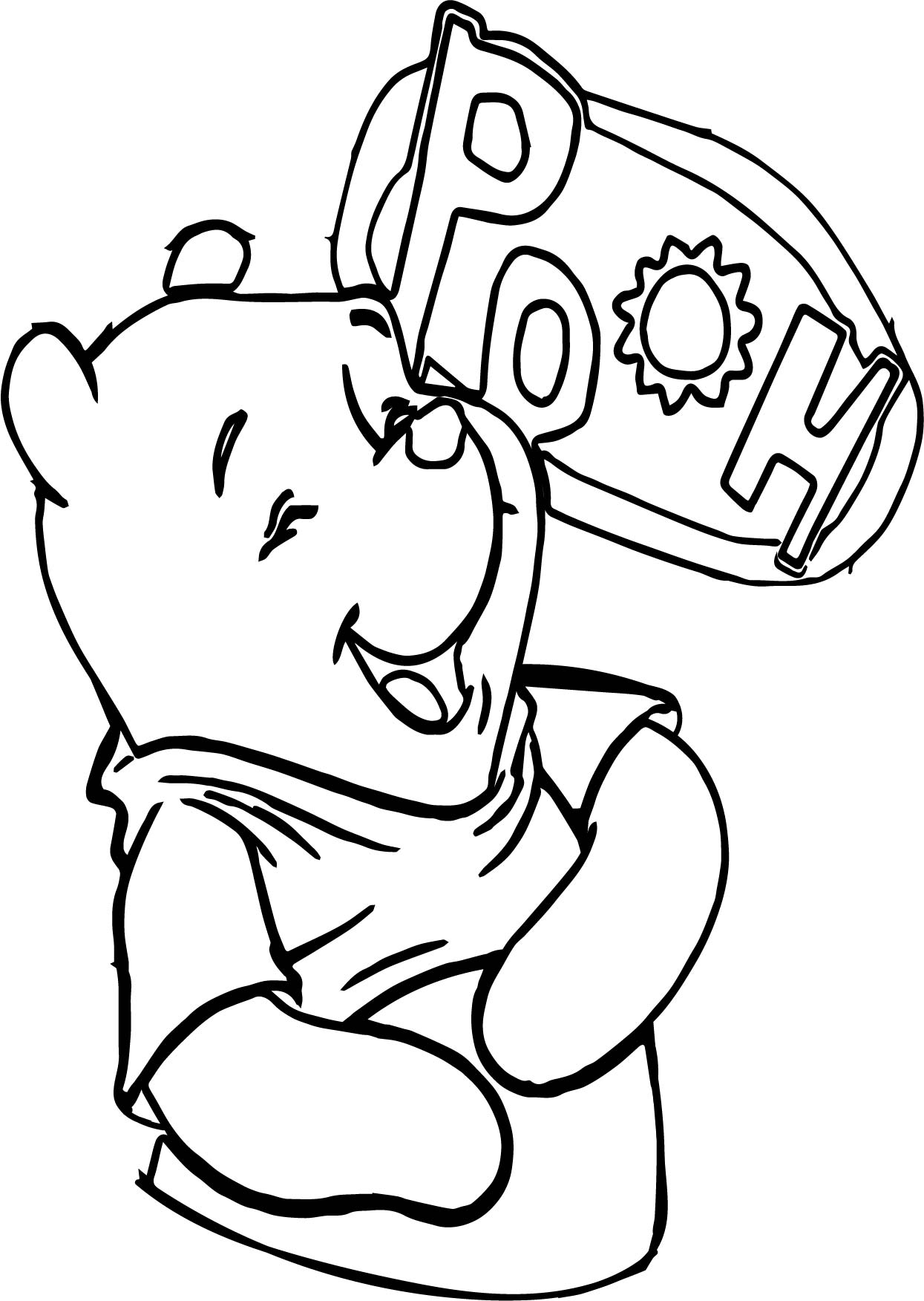 Winnie The Pooh Laugh Coloring Page