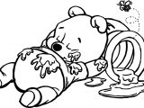 Winnie The Pooh Sleeping On Hunny Bucket Coloring Page