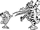 Winter Piglet Kick Tiger Coloring Page