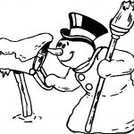 Winter Snowman And Post Coloring Page