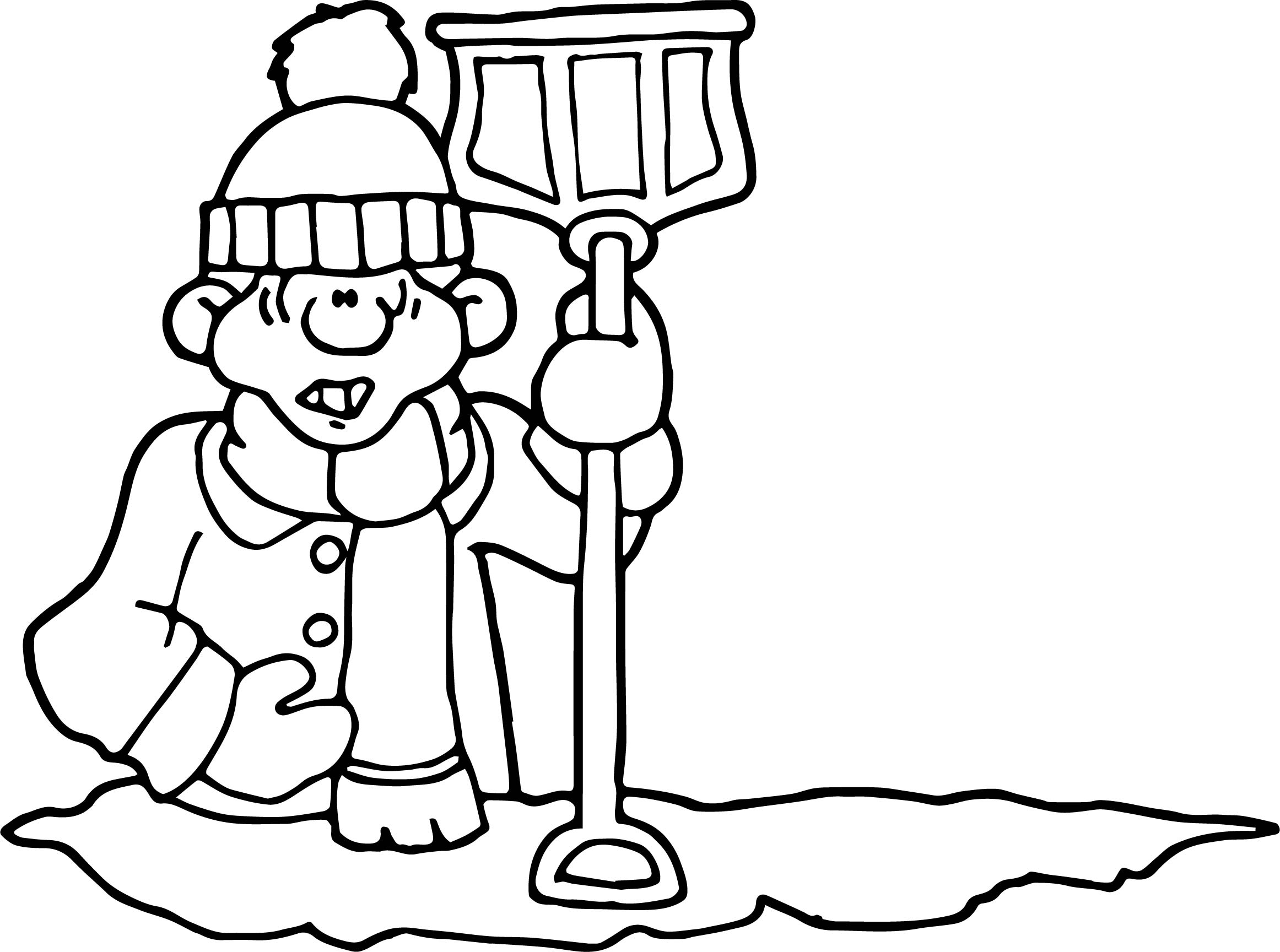Winter Very Cold Man Coloring Page