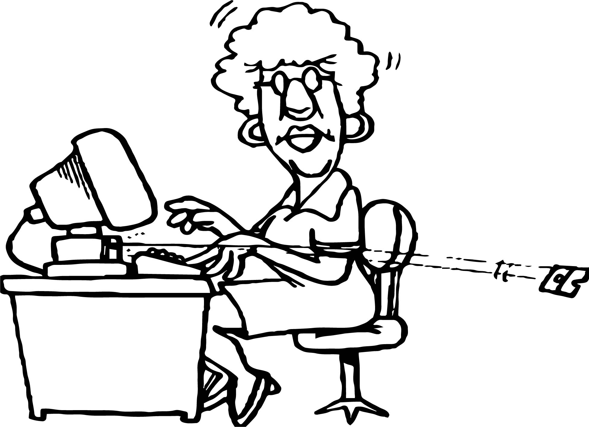 Woman Playing Computer Games Broken Keyboard Button Coloring Page