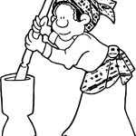 Working African Woman Coloring Page