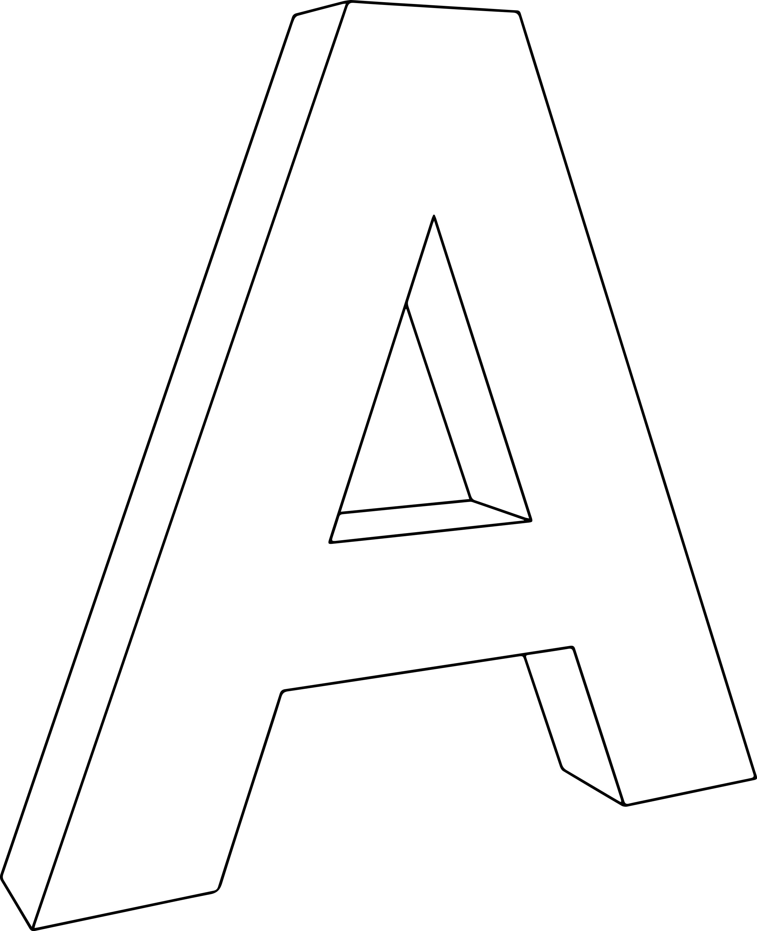 3d a character letter coloring page wecoloringpage
