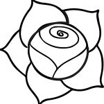A Illustration Of A Pink Rose With Dark Outline On A White Background Coloring Page