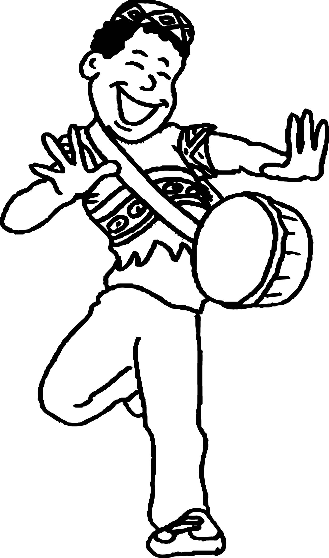 African Man Dancing Coloring Page