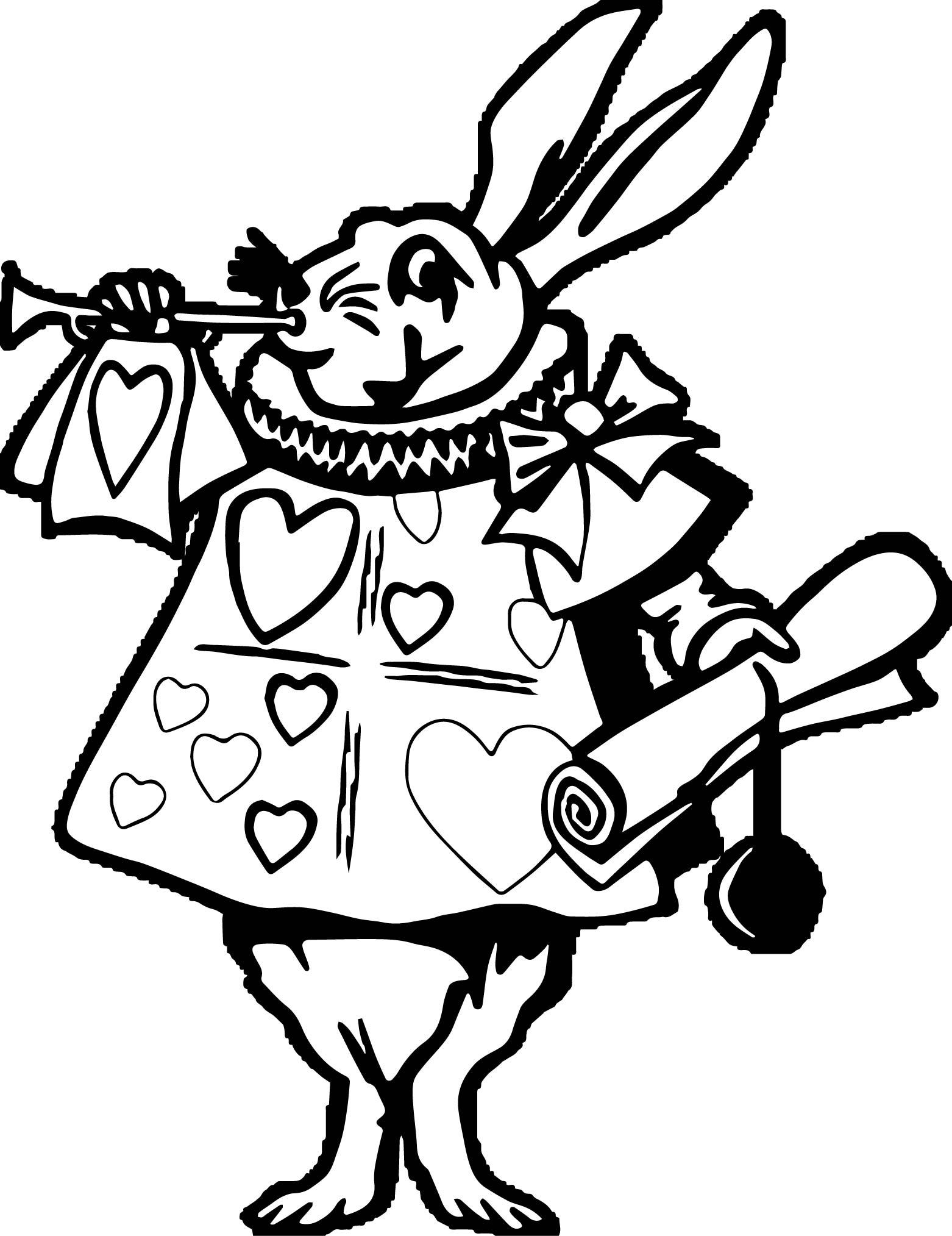 Alice In The Wonderland Envoy Bunny Coloring Page