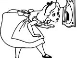Alice In The Wonderland Key Hole Look Coloring Page