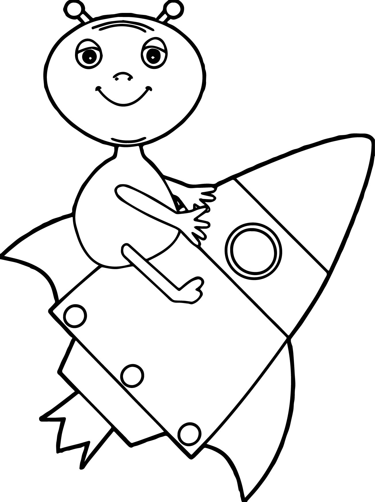 Alien Drawing Rocket Coloring Page