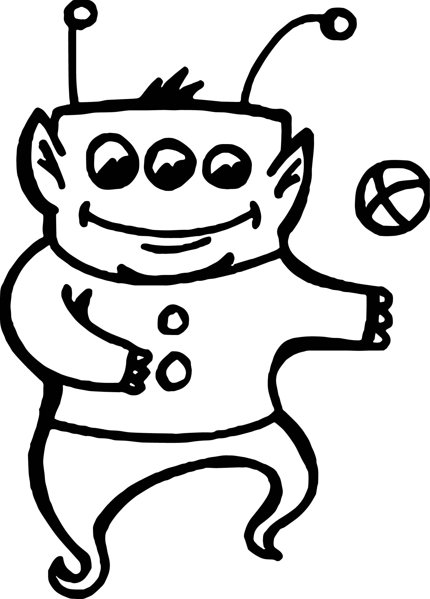 Alien Playing Ball Coloring Page
